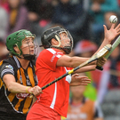 Cork's Gemma O'Connor in action against Kilkenny duo Denise Gaule and Katie Power during last year's All-Ireland final. Photo: Sportsfile