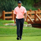 Tiger Woods in sensational form with an eagle on the 18th Photo: Getty Images