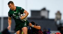 Connacht's Eoin Griffin is tackled by Zebre's Guglielmo Palazzani. Photo: Sportsfile