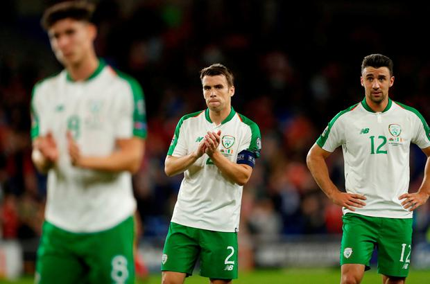 Republic of Ireland s Seamus Coleman applauds their fans after the match in  Cardiff. Action Images f8618150d