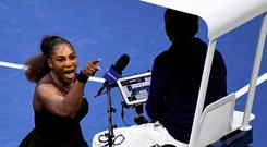 Serena Williams of the United States yells at chair umpire Carlos Ramos in the women's final against Naomi Osaka of Japan on day thirteen of the 2018 U.S. Open tennis tournament at USTA Billie Jean King National Tennis Center. Mandatory Credit: Danielle Parhizkaran-USA TODAY SPORTS