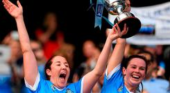 Emer Keenan, left, and Deirdre Johnstone of Dublin lift the Kathleen Mills cup following the Liberty Insurance All-Ireland Premier Junior Camogie Championship Final match between Dublin and Kerry at Croke Park in Dublin. Photo by Piaras Ó Mídheach/Sportsfile