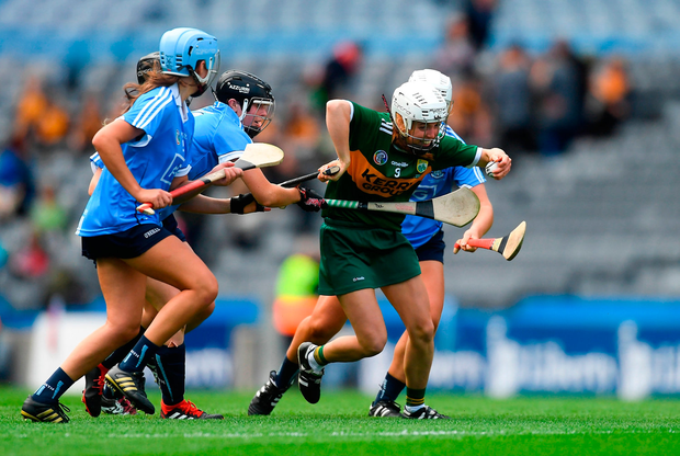 Patrice Diggin of Kerry in action against Dublin players, from left, Emma Barron, Hannah O'Dea, Deirdre Johnstone and Sinéad Wylde. Photo by Piaras Ó Mídheach/Sportsfile