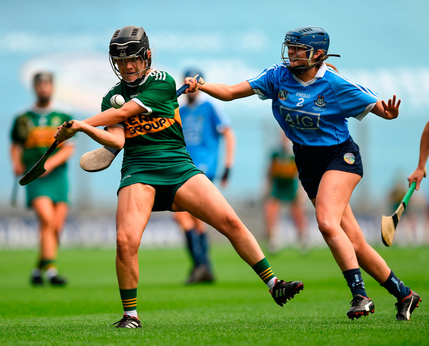 Jessica Fitzell of Kerry in action against Eimear O'Riordan of Dublin. Photo by David Fitzgerald/Sportsfile
