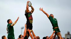 Zebre's Jimmy Tuivaiti beats Connacht's Quinn Roux and Jarrad Butler to the ball in a lineout. Photo: Harry Murphy/Sportsfile