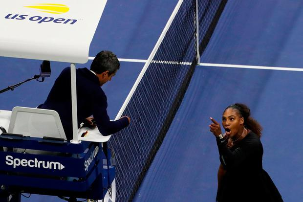 Williams argues with umpire Carlos Ramos during the US Open final. Photo: Jaime Lawson/Getty Images for USTA