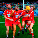 Cork players, from left, Leanne O'Sullivan, Laura Treacy, Aoife Murray and Hannah Looney celebrate
