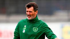 Republic of Ireland assistant manager Roy Keane and Callum O'Dowda during a Republic of Ireland training session at Dragon Park in Newport, Wales. Photo by Stephen McCarthy/Sportsfile