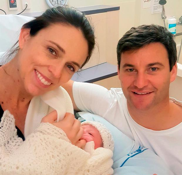 Jacinda Ardern, daughter Neve, and partner Clarke Gayford. AP Photo
