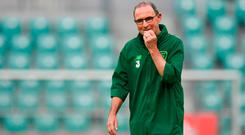 Friendly ire: Martin O'Neill in thoughtful mood during yesterday's training session in Wrocław. Photo: Stephen McCarthy/Sportsfile