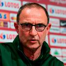 Martin O'Neill during a press conference at the Municipal Stadium in Wrocław, Poland. Photo: Stephen McCarthy/Sportsfile