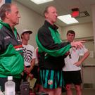 Jack Charlton frogmarched his assistant Maurice Setters and Roy Keane into a press conference to deny reports of a training-ground row between the pair during the 1994 World Cup. Photo: INPHO/Billy Stickland