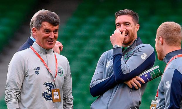 Roy Keane and Stephen Ward share a joke prior to last year's World Cup qualifier against Serbia. Photo: Matt Browne/Sportsfile