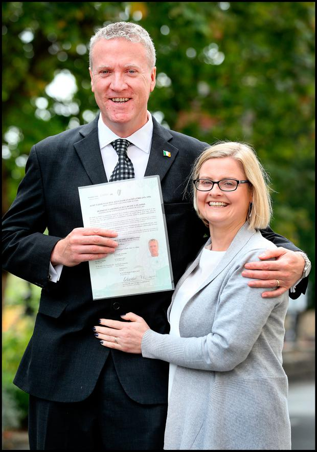 New citizen: David Bacon, originally from Frinton on Sea in England, now living in Co Offaly, with wife Aisling Bacon after the citizenship ceremony. Photo: Steve Humphreys