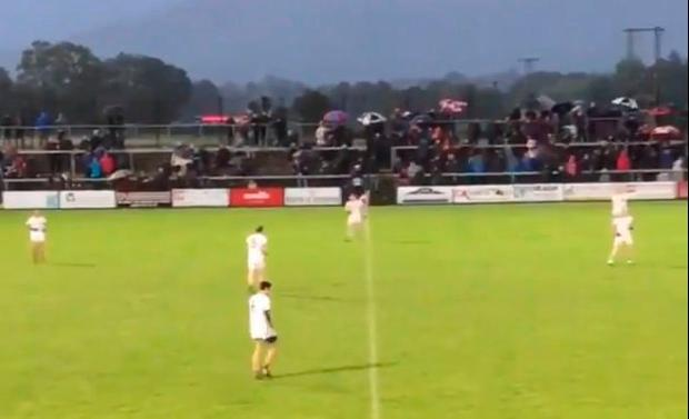 A screengrab of six Slaughtneil players enjoying splendid isolation around the half-way line during their Derry league clash against Magherafelt
