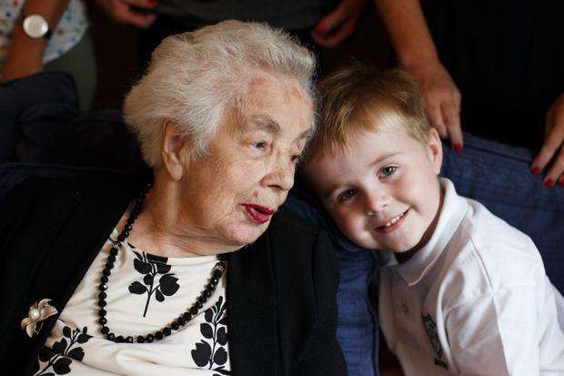 Kathleen McCormack from Dublin 7 who is celebrating her 100th Birthday pictured with her great grand newphew Senan Hackett (4) Pic: Mark Condren