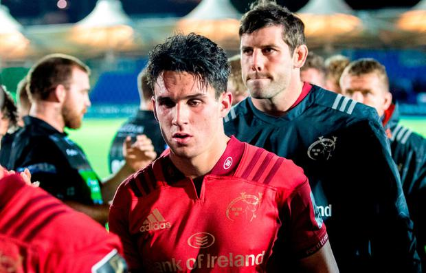 A dejected Joey Carbery of Munster following the Guinness PRO14 Round 2 match between Glasgow Warriors and Munster at Scotstoun Stadium in Glasgow, Scotland. Photo by Kenny Smith/Sportsfile