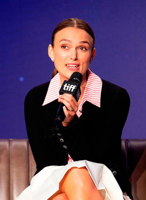 British actress Keira Knightley attends the press conference for
