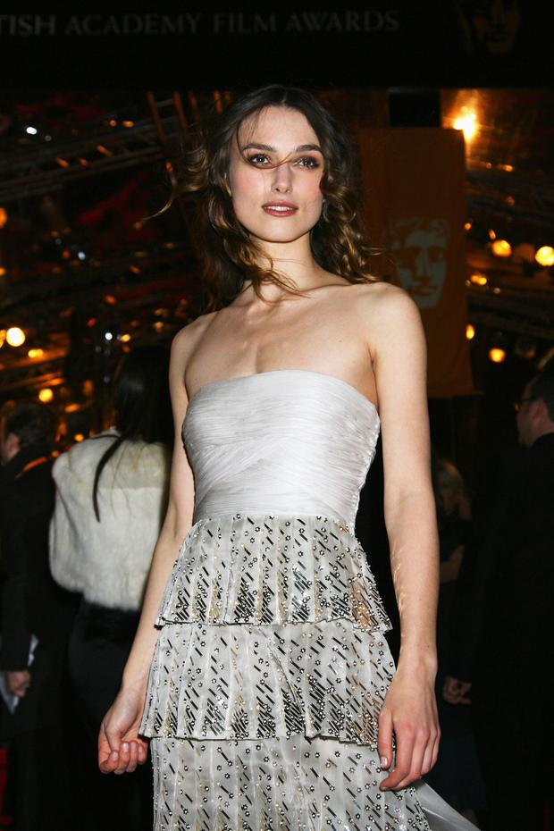 Actress Keira Knightley arrives at the Orange British Academy Film Awards at the Royal Opera House on February 10, 2008 in London, England. (Photo by Chris Jackson/Getty Images for Orange)