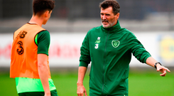 Roy Keane and Callum O'Dowda during a Republic of Ireland training session