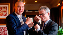 Kieran Donaghy with Joe Brolly at the Austin Stacks GAA Club in 2014. Picture credit: Jerry Kennelly / SPORTSFILE
