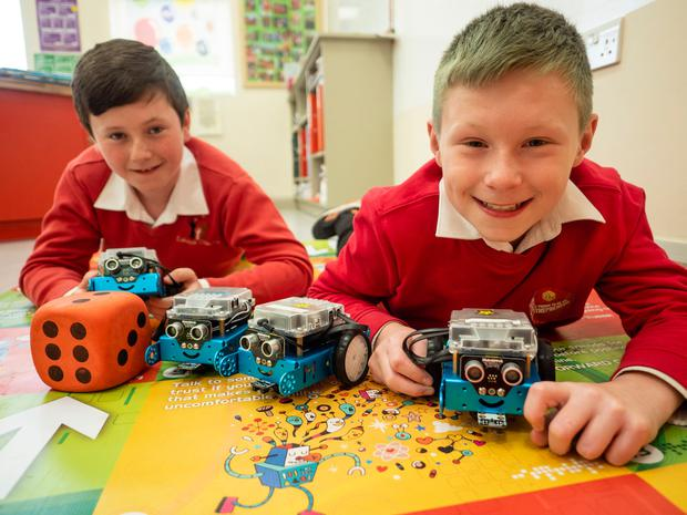 In safe hands: Seán Kelly and Jack Nutley from Lehinch National School with their Internet Safety Game. Photo: Jerry Kennelly/JEP
