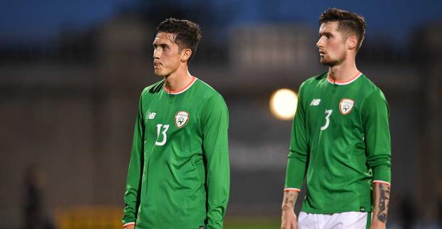 Republic of Ireland players Jamie McGrath, left, and Corey Whelan leave the pitch after the UEFA European U21 Championship Qualifier Group 5 match between Republic of Ireland and Germany at Tallaght Stadium in Tallaght, Dublin. Photo by Brendan Moran/Sportsfile