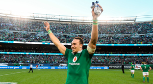 5 November 2016; Ultan Dillane of Ireland celebrates victory after the International rugby match between Ireland and New Zealand at Soldier Field in Chicago, USA. Photo by Brendan Moran/Sportsfile