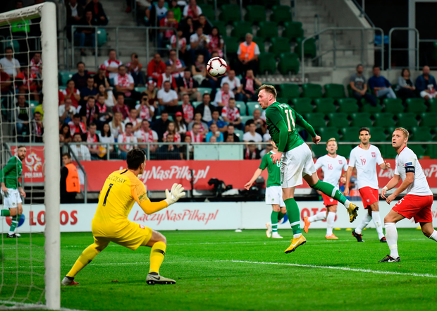 11 September 2018; Aiden O'Brien of Republic of Ireland scores his side's first goal during the International Friendly match between Poland and Republic of Ireland at the Municipal Stadium in Wroclaw, Poland. Photo by Stephen McCarthy/Sportsfile