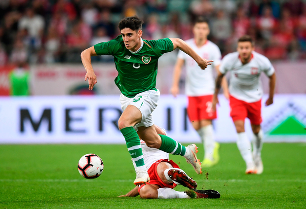 11 September 2018; Callum O'Dowda of Republic of Ireland in action against Grzegorz Krychowiak of Poland during the International Friendly match between Poland and Republic of Ireland at the Municipal Stadium in Wroclaw, Poland. Photo by Stephen McCarthy/Sportsfile