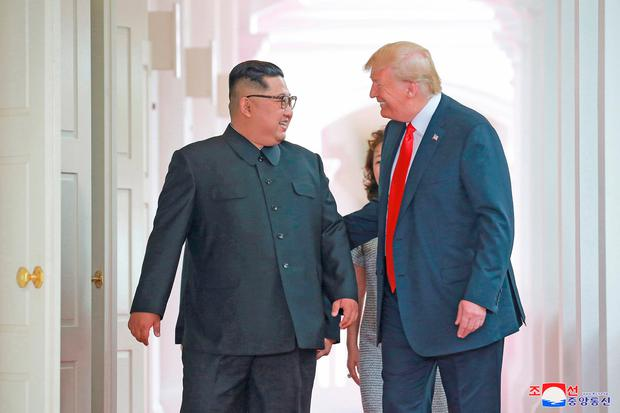 North Korea's leader Kim Jong-Un with US President Donald Trump at their historic US-North Korea summit in Singapore this summer. Photo: Reuters