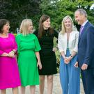 Think-in: Micheál Martin with, from left, Anne Rabbitte, Fiona O'Loughlin, Lorraine Clifford-Lee, Margaret Murphy O'Mahony, and Lisa Chambers, in Malahide. Photo: Tony Gavin