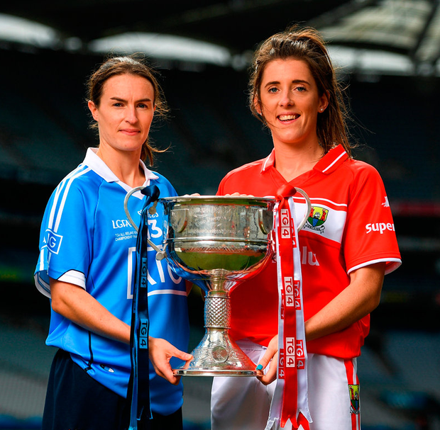 Dublin captain Sinead Aherne and her Cork counterpart Ciara O'Sullivan in Croke Park yesterday ahead of Sunday's TG4 Ladies All-Ireland SFC final. Photo: Eóin Noonan/Sportsfile