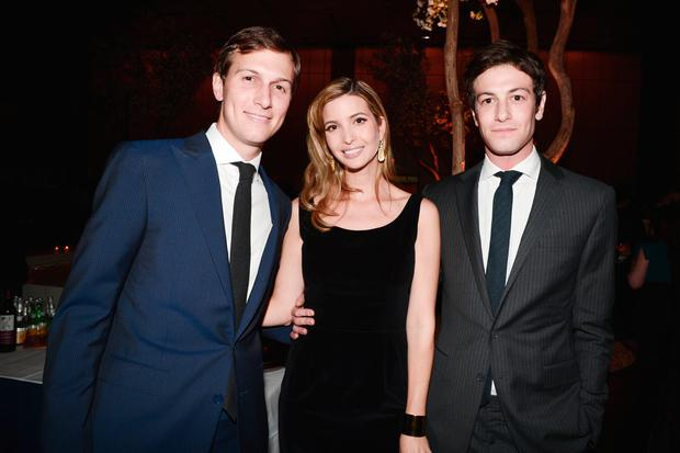 (L-R) Jared Kushner, Ivanka Trump and Joshua Kushner attend The New York Observer 25th Anniversary at Four Seasons Restaurant on March 14, 2013 in New York City. (Photo by Patrick McMullan/Patrick McMullan via Getty Images)