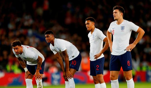 England's Kyle Walker Marcus Rashford Trent Alexander Arnold and Harry Maguire look on as the prepare to take a free-kick Action Images via Reuters  Andrew Boyers