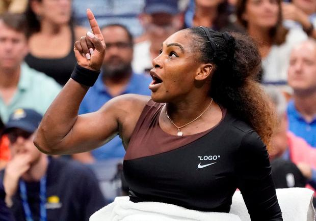 Serena Williams of the USA argues with chair umpire Carlos Ramos (not pictured)