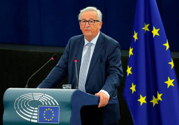 European Commission President Jean-Claude Juncker delivers a speech during a debate on The State of the European Union at the European Parliament in Strasbourg, France, September 12, 2018. REUTERS/Vincent Kessler