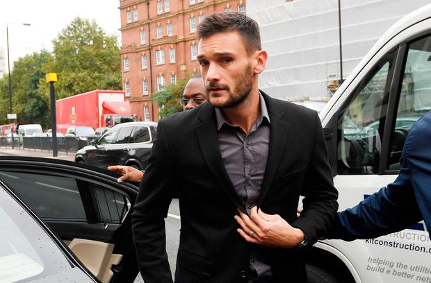 Tottenham and France goal keeper Hugo Lloris arrives at Westminster Magistrates Court in London, Britain September 12, 2018. REUTERS/Toby Melville