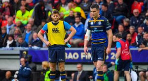 12 May 2018; Ross Byrne of Leinster watches team-mate Jonathan Sexton prepare to kick a penalty during the European Rugby Champions Cup Final match between Leinster and Racing 92 at the San Mames Stadium in Bilbao, Spain. Photo by Brendan Moran/Sportsfile