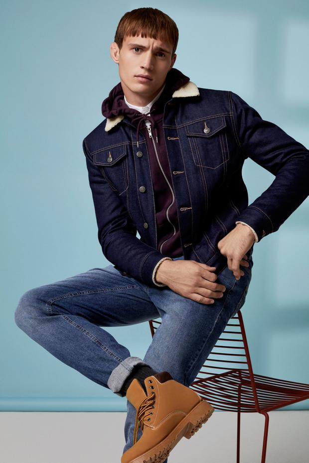 Denim jacket with borg collar and lining, €30, hoodie, €11, shirt, €13, 1990s-style straight leg denim jeans, also available in black and in grey, €13, boots, €21, socks, €7