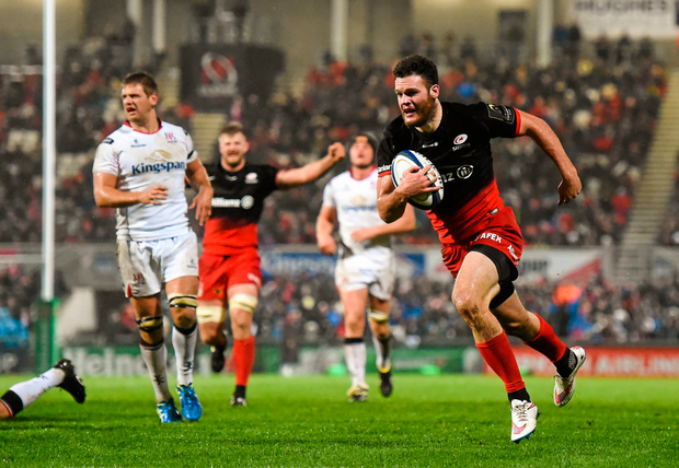 20 November 2015; Duncan Taylor, Saracens, on his way to scoring his side's third try of the game. European Rugby Champions Cup, Pool 1, Round 2, Ulster v Saracens. Kingspan Stadium, Ravenhill Park, Belfast. Picture credit: Ramsey Cardy / SPORTSFILE