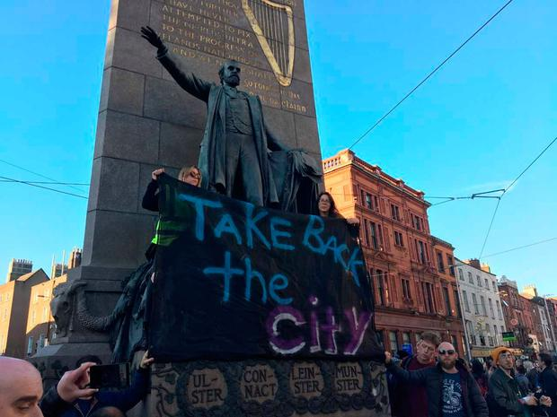 Up to 200 people gathered for a rally to protest housing eviction in Dublin city centre. Pic: Tony Gavin