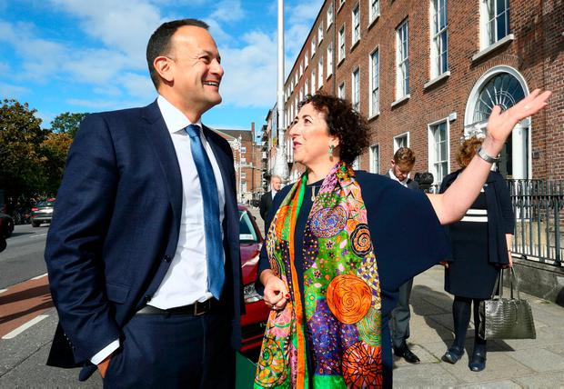 Taoiseach Leo Varadkar pictured with Tanya Banotti, director of Creative Ireland, before the launch of 31 local authority culture and creative strategies at the Irish Architectural Archive in Merrion Square, Dublin. Photo: Frank McGrath