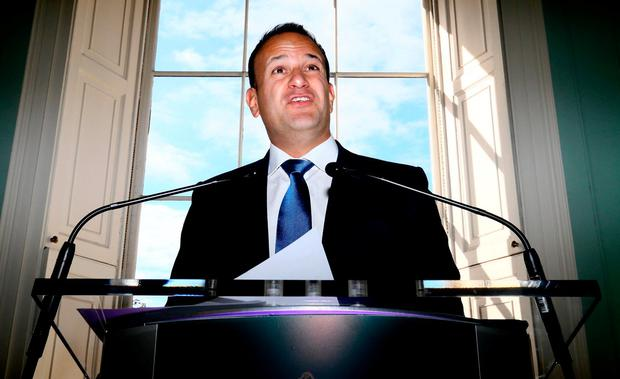 Quizzed: Taoiseach Leo Varadkar speaking at the launch of 31 Local Authority Culture and Creative Strategies 2018-2022 in Merrion Square yesterday. Photo: Frank McGrath