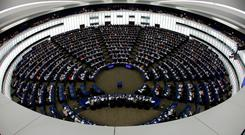 Members of the European Parliament take part in a vote on modifications to EU copyright reforms during a voting session at the European Parliament in Strasbourg. Photo: REUTERS/Vincent Kessler