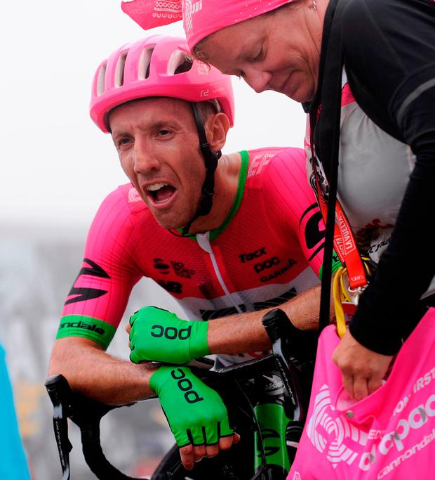 EF-Education First's Canadian rider Michael 'Rusty' Woods celebrates an emotional victory at the end of stage 17 of the Vuelta a Espana. Photo: Getty Images