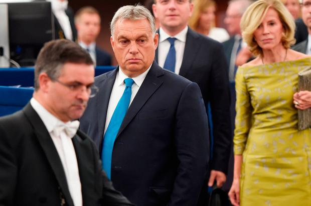 Viktor Orban arrives for a debate on Hungary's situation at the European Parliament in Strasbourg