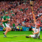 Shane Dowling of Limerick shoots to score his side's third goal during the GAA Hurling All-Ireland Senior Championship Final match between Galway and Limerick at Croke Park in Dublin. Photo: Sportsfile