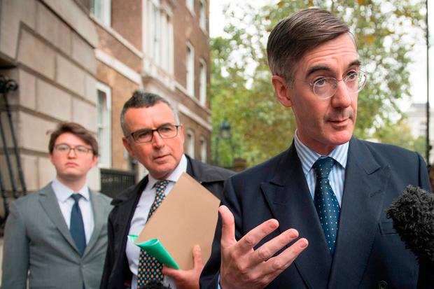 Jacob Rees-Mogg was in Whitehall, London, to discuss Brexit proposals yesterday. Photo: PA