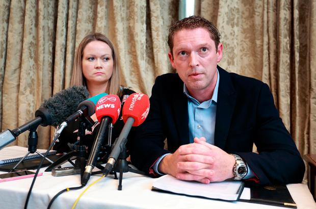 Stephen Teeap and Lorraine Walsh pictured speaking at the media briefing on Dr Gabriel Scally's Report of the Scoping Inquiry into the CervicalCheck Screening Programme, at Buswells Hotel, Dublin. Photo: Frank McGrath